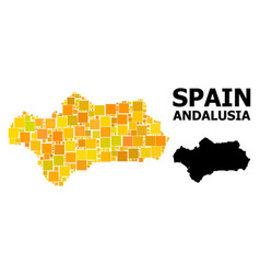 Gold square mosaic map andalusia province vector