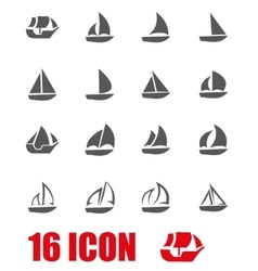 Grey sailboat icon set vector