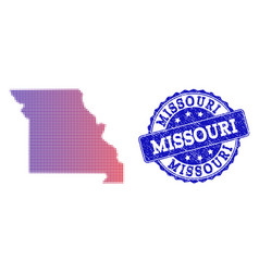 Halftone gradient map of missouri state and vector