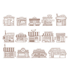hand drawn buildings pharmacy shop bar and vector image