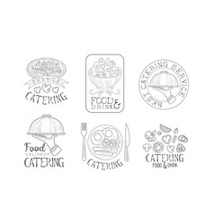Hand drawn emblems for catering services vector