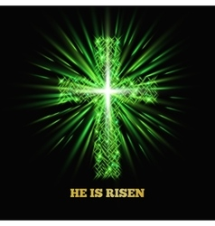 He is risen shining cross easter background vector