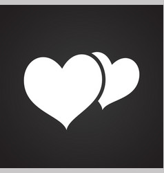 hearts on black background vector image