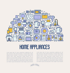 Home appliances concept in half circle vector