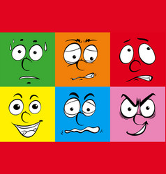 human faces on different colors background vector image