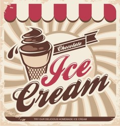 Ice cream retro poster vector image