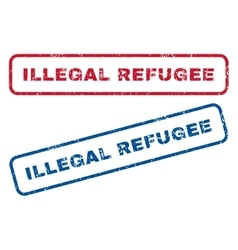 Illegal Refugee Rubber Stamps vector