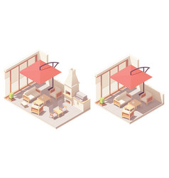 isometric patio with barbecue grill vector image