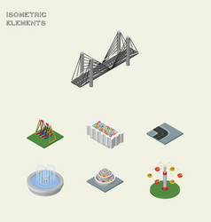 isometric urban set of turning road bridge vector image