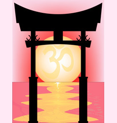 Japanese tori gate sunset vector