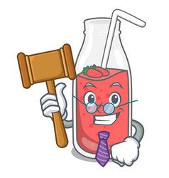 judge strawberry smoothie mascot cartoon vector image