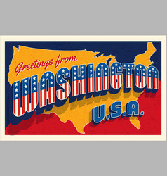 july 4th washington usa retro travel postcard vector image
