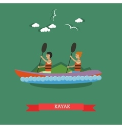 Kayaking concept in flat style vector