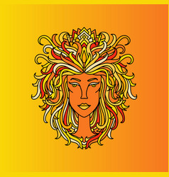 Leo girl portrait zodiac sign of fire doodle vector