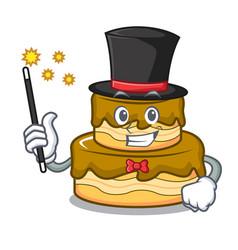 Magician birthday cake mascot cartoon vector