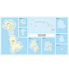 Map leeward islands society islands france vector