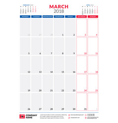march 2018 calendar planner design template vector image