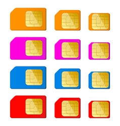 Mini micro nano sim card in red blue pink orange vector