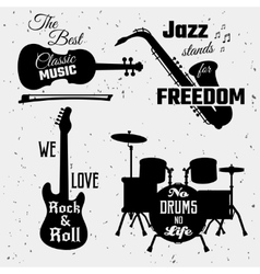 Music Quotes Monochrome Collection vector image