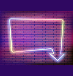 neon frame with arrow on a brick wall vector image