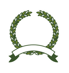 Olive branch green crown and ribbon on bottom vector