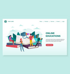 online education landing page tiny people read vector image