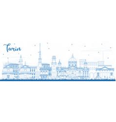 Outline turin italy city skyline with blue vector