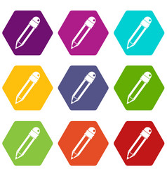 Pencil with eraser icon set color hexahedron vector
