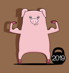 Pig symbol of new year 2019 vector