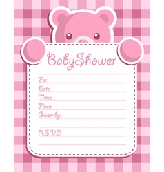 pink bear baby shower card vector image