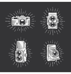 Retro photo cameras set Hand drawn vintage vector image
