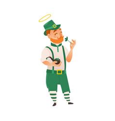 Saint patrick holding shamrock and smoking pipe vector