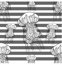 seamless monochrome pattern with jellyfish vector image vector image