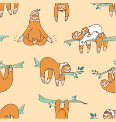 seamless pattern with cute sloths sleeping vector image