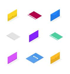 set 3d plastic file folders vector image