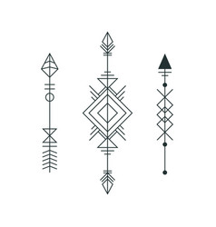 Set of graphic arrows for tattoo design vector