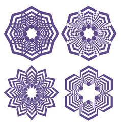 set of simple geometric design elements purple vector image