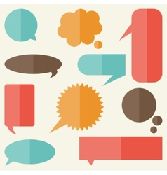 Set of speech bubbles and banners in flat design vector