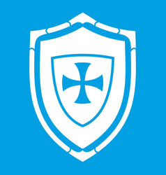 Shield with cross icon white vector