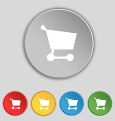 Shopping basket icon sign Symbol on five flat vector