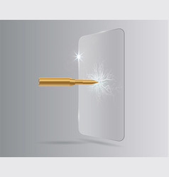 shot a bullet in protective glass a crack on glass vector image