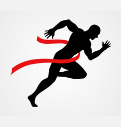 silhouette a sprinter at finish line vector image