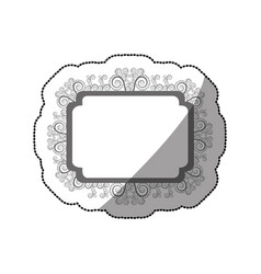 sticker gray scale curved rectangle vintage vector image