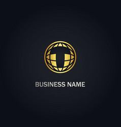 t initial globe sphere technology gold logo vector image