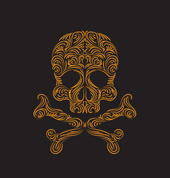 tracery wave pattern skull element vector image