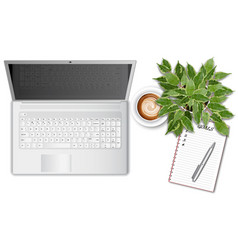 ttop view office table desk with laptop and vector image