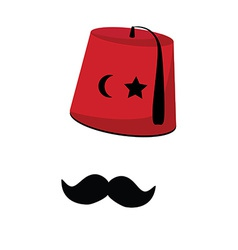 Turkish hat with star crescent and mustache vector image
