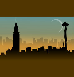 Various building usa beauty scenery silhouettes vector