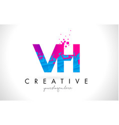 Vh v h letter logo with shattered broken blue vector