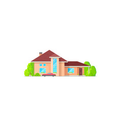 Villa or two-storied cottage house isolated icon vector
